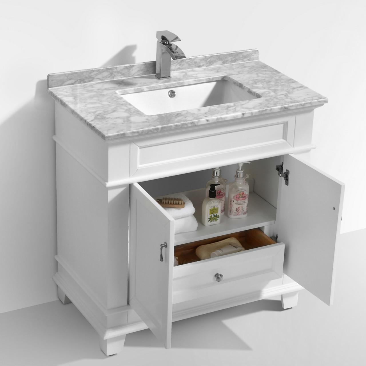 Moreno Fayer 30 White Bathroom Vanity With Carrara Marble Top Los