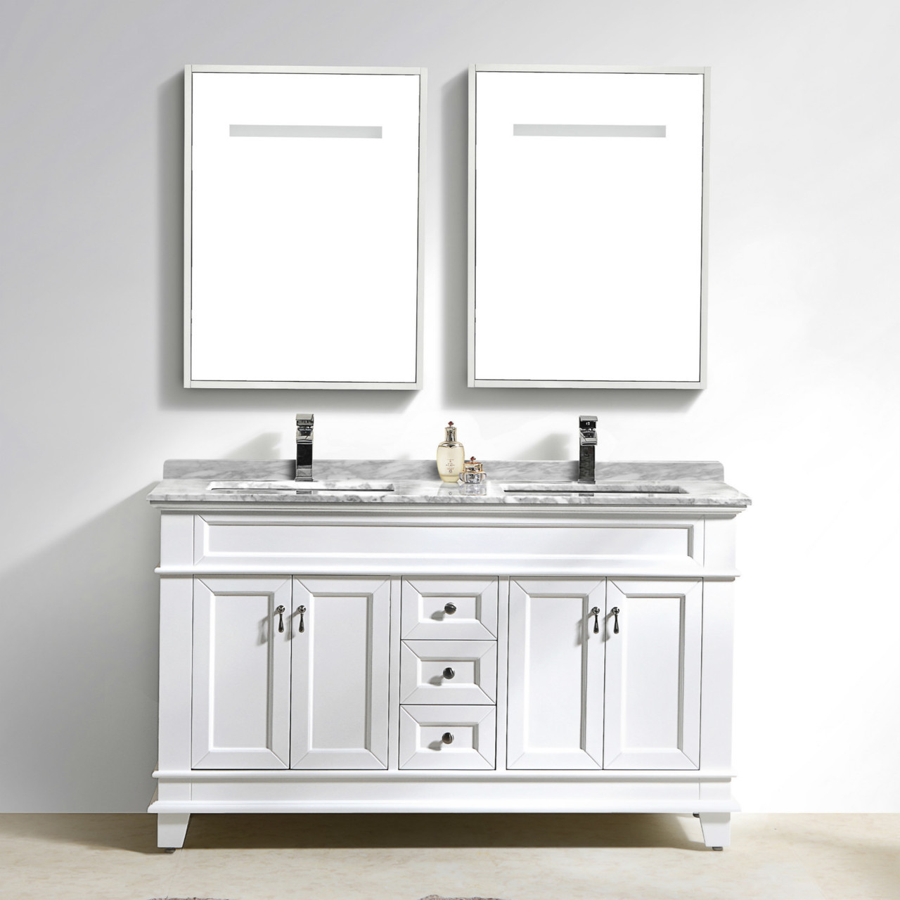Moreno Fayer 60 Double Sink White Bathroom Vanity With Carrara