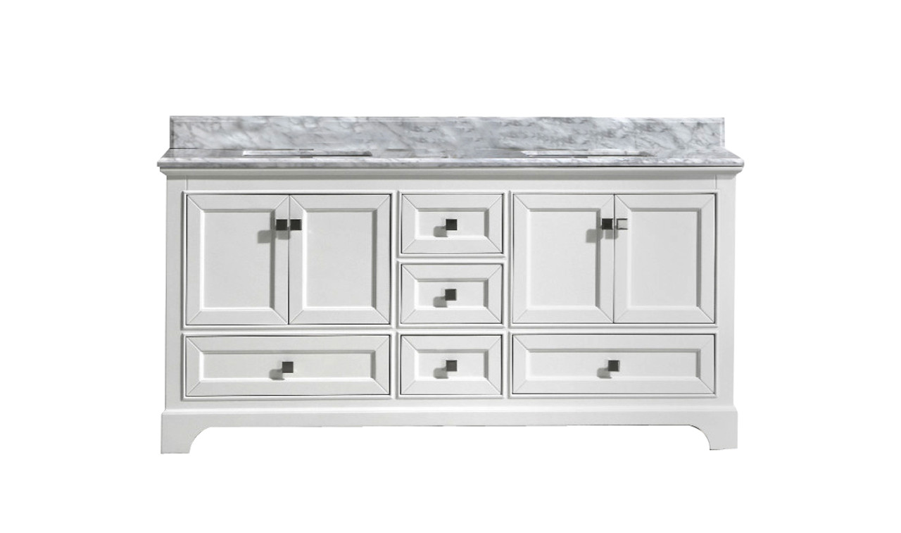 Astounding Maple 72 Double Sink White Bathroom Vanity With Carrara Marble Top Home Remodeling Inspirations Genioncuboardxyz