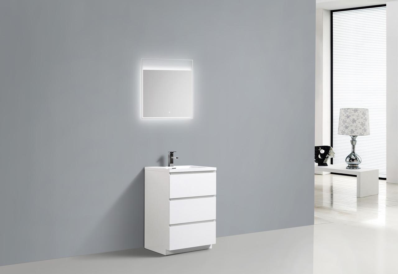 Moa 24 Gloss White Modern Bathroom Vanity W 3 Drawers And Acrylic Sink