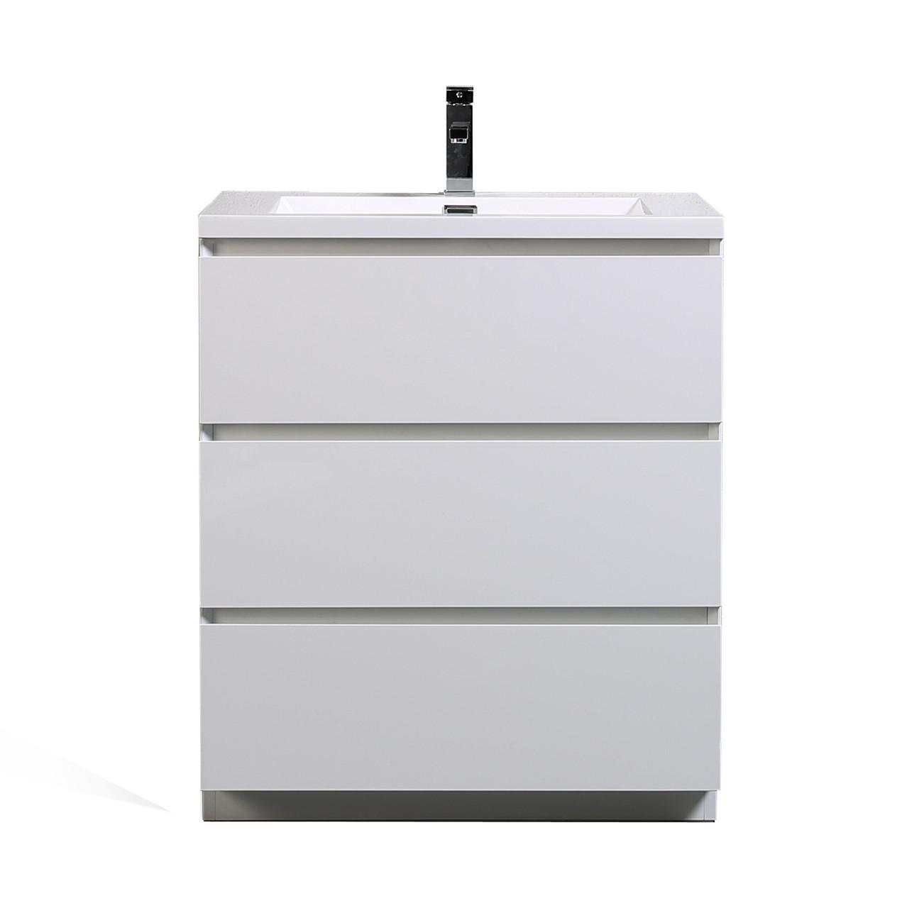 Moa 30 Gloss White Modern Bathroom Vanity W 3 Drawers And Acrylic Sink Los Angeles Vanity