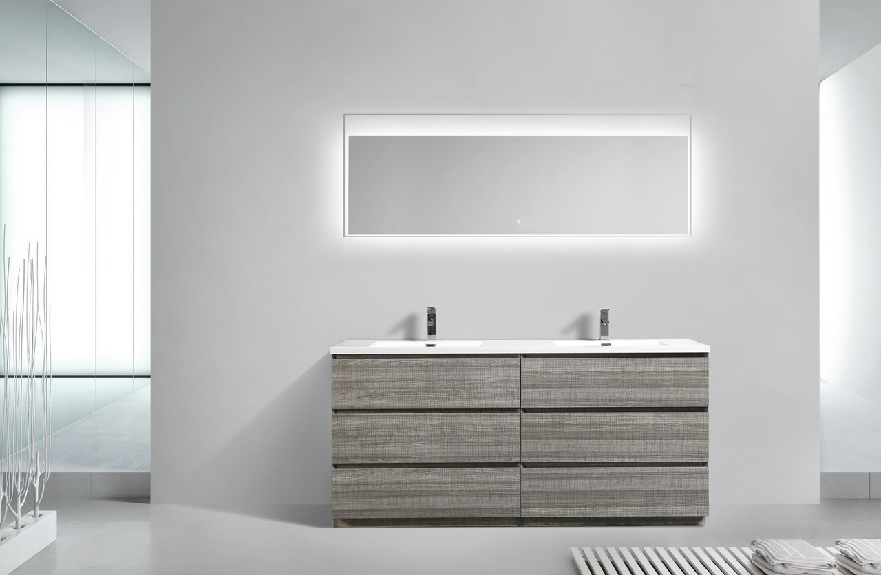Prime Moa 72 Double Sink Ash Gray Modern Bathroom Vanity W 6 Drawers And Acrylic Sink Interior Design Ideas Inesswwsoteloinfo