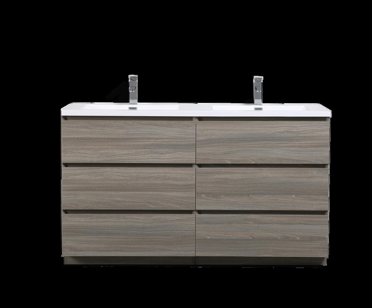 Moa 60 Double Sink Mayple Grey Bathroom Vanity W 6 Drawers And Acrylic Sink Los Angeles Vanity