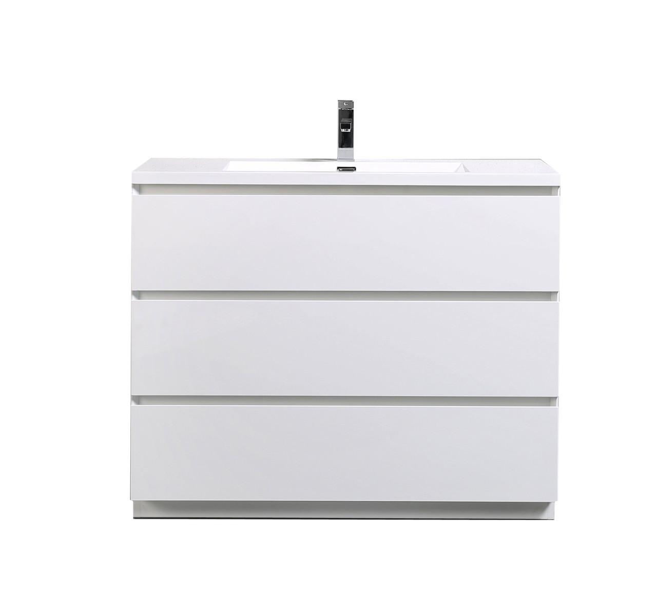 Moa 42 Gloss White Modern Bathroom Vanity W 3 Drawers And Acrylic Sink Los Angeles Vanity