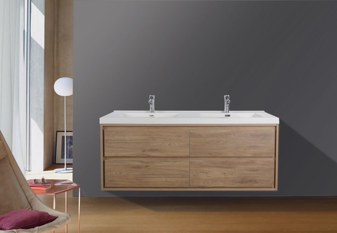 Murray 48 Teak Oak Wall Mounted Modern Vanity Double Sink Los Angeles Vanity