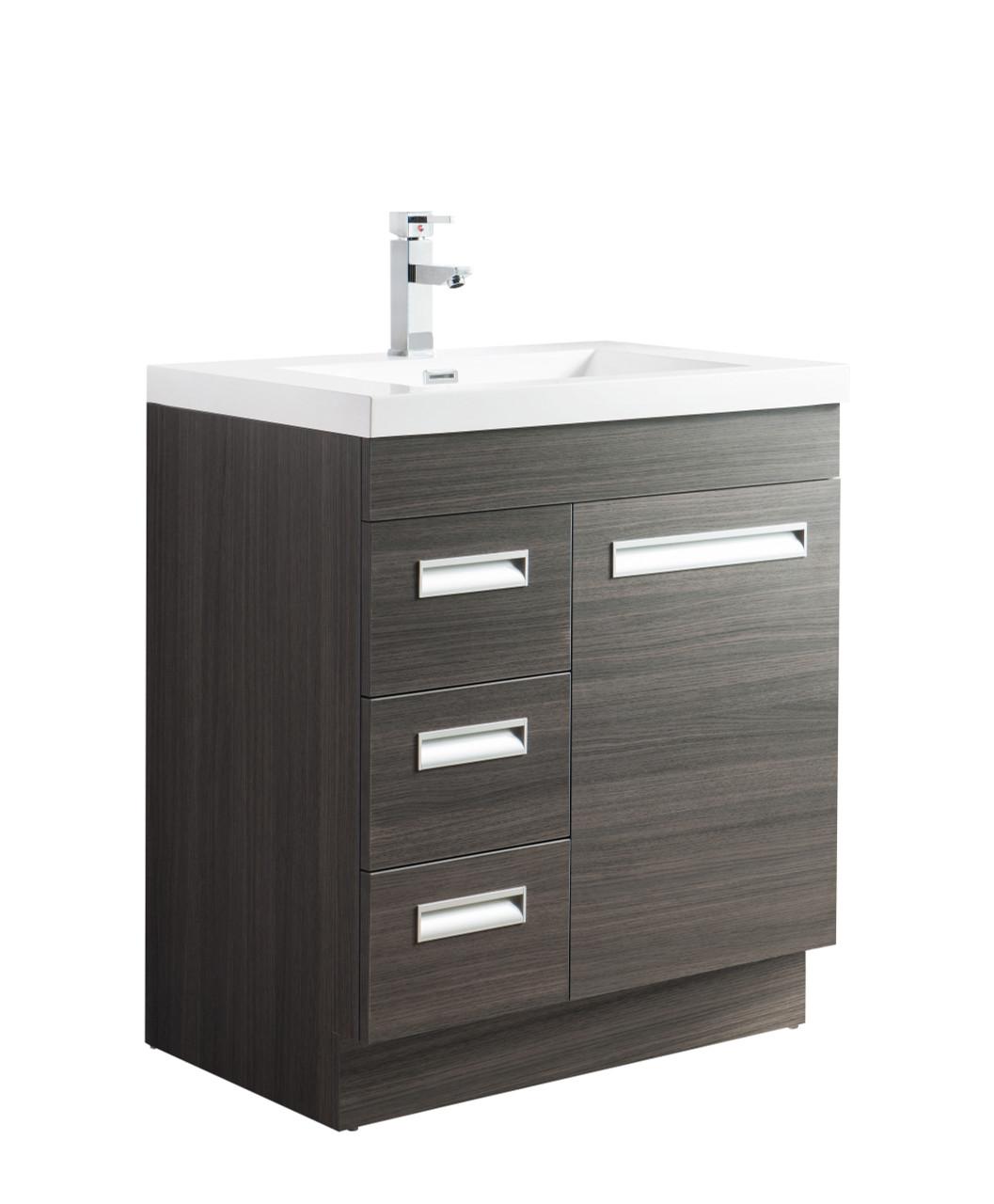 Alma 30 Free Standing Modern Bathroom Vanity With Drawers On Left Side Gray Oak Los Angeles Vanity