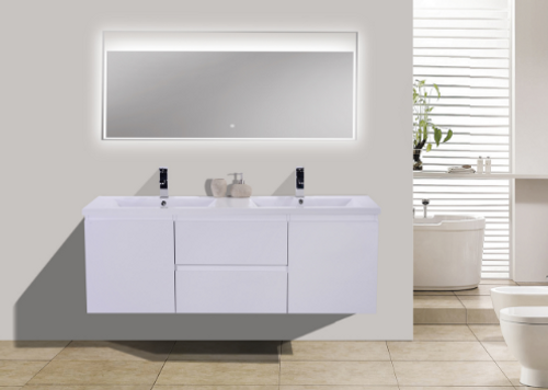 Moreno Mob 60 Double Sink High Gloss White Wall Mounted Modern
