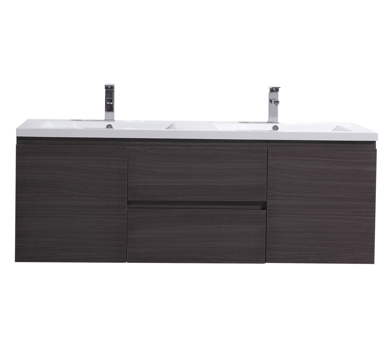 Moreno Mob 60 Double Sink Black Grey Oak Wall Mounted Modern Bathroom Vanity With Reeinforced Acrylic Sink Los Angeles Vanity