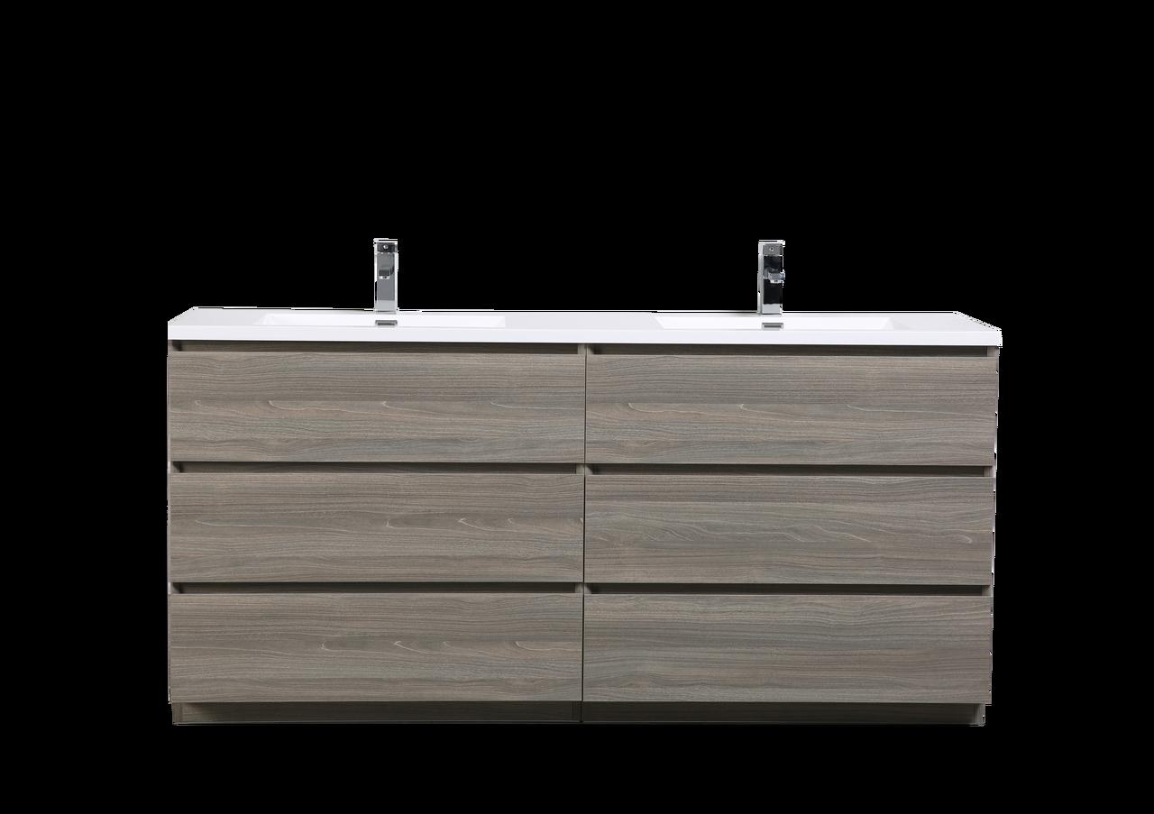 Moa 72 Double Sink Mayple Grey Modern Bathroom Vanity W 6 Drawers And Acrylic Sink Los Angeles Vanity