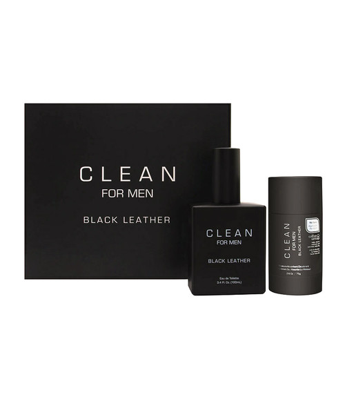 Clean Black Leather 2-Piece Gift Set for Men