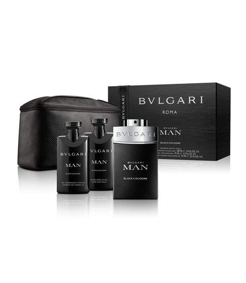Bvlgari Man Black Cologne 3-Piece Gift Set with Pouch