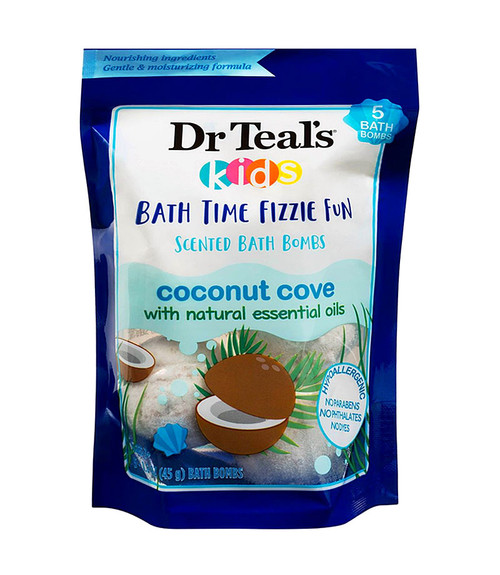 Dr Teal's Kids Bath Time Fizzie Fun Scented Coconut Cove Bath Bombs (5-Pack) 1.6 oz