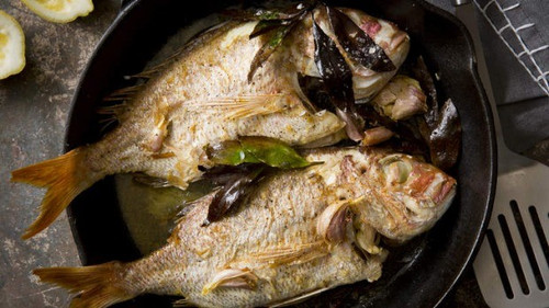 Pan-Roasted Snapper with Garlic & Bay Leaves