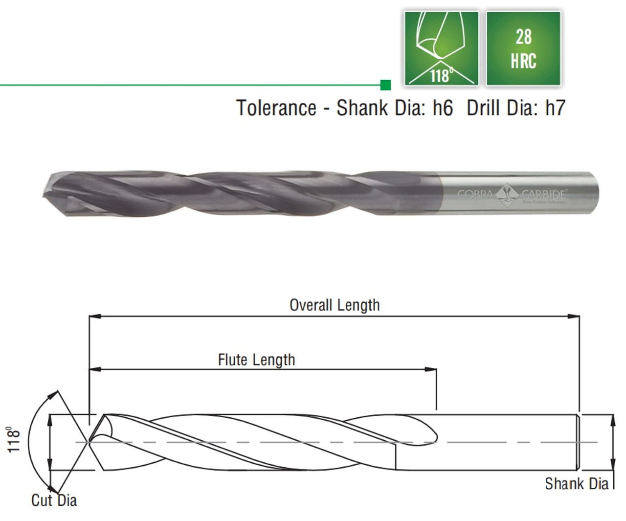 "NEW 7//64/"" SOLID CARBIDE JOBBER LENGTH DRILL"