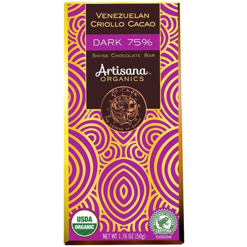Venezuelan Criollo Cacao, Organic Dark 75%, 1.8 oz bar