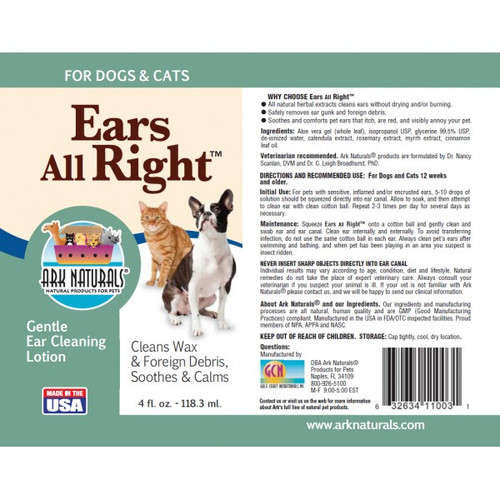 Ears All Right, Gentle Ear Cleaning Lotion for All Pets - 4 fl oz