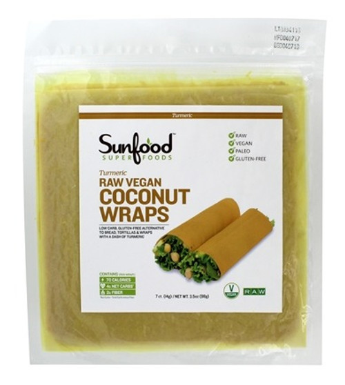 Coconut Wraps, Turmeric, 7/pk 3.5oz. Raw