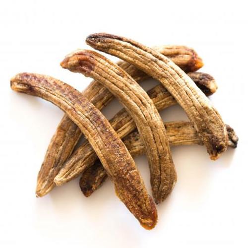 Magnificent, whole bananas. Just right to carry in your shoulder bag or backpack. Chewy and good! Sweet! A magnificent snack. Dried at 95 degrees Fahrenheit. Very stable at room temperature.