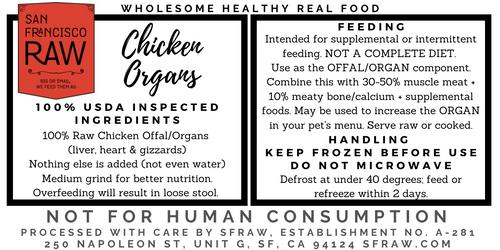 SFRAW Ground Chicken Organs 16 oz.