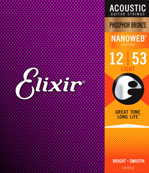 Elixir 16052 Phosphor Bronze Nanoweb Coated Acoustic Guitar Strings Light 12-53