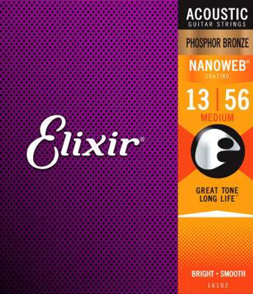 Elixir 16102 Phosphor Bronze Nanoweb Coated Acoustic Guitar Strings medium 13-56