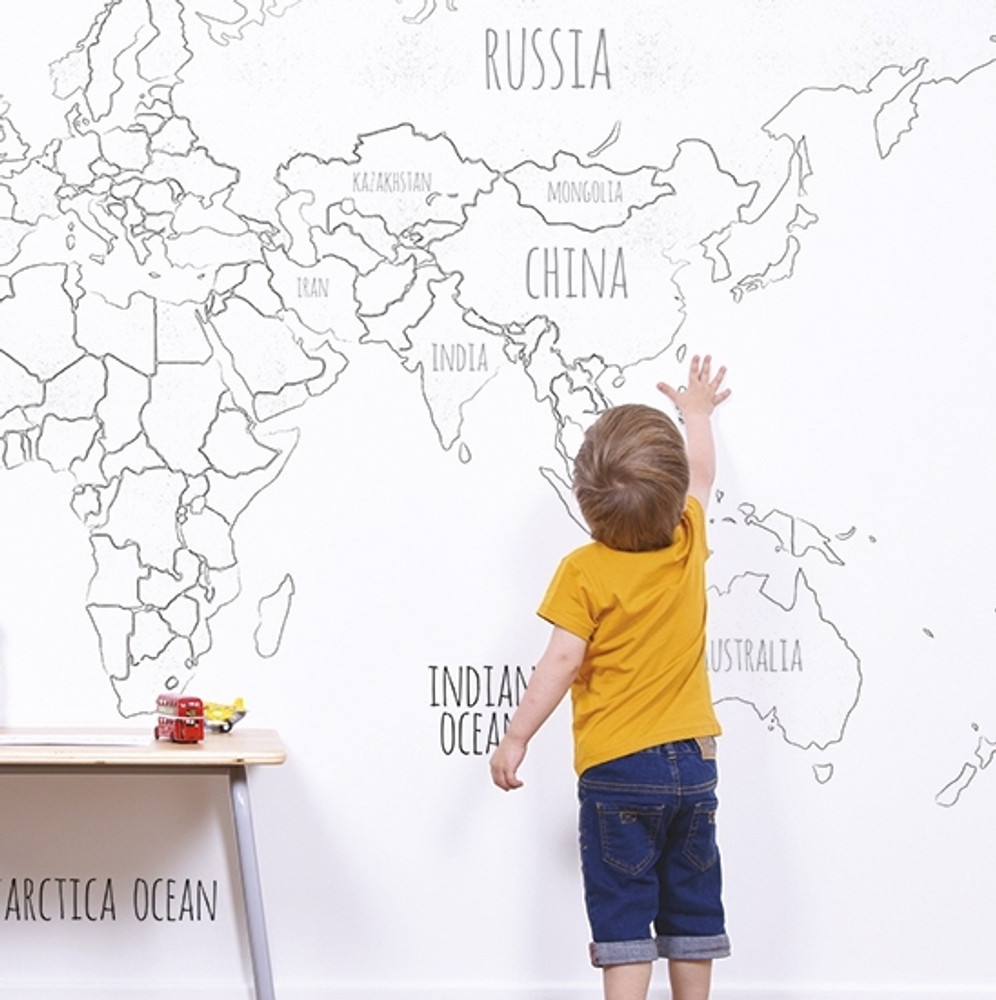Mural - World Map Monochrome (4m X 2.48m)