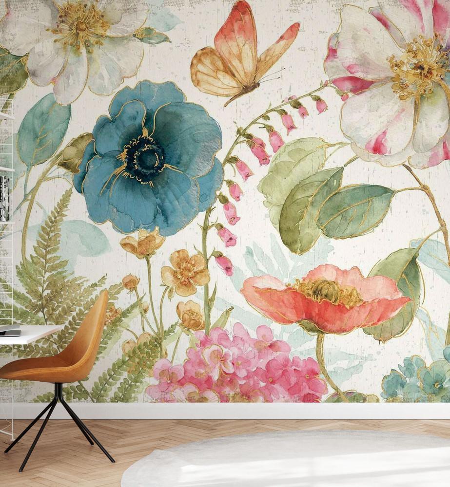 Mural - Rainbow Seeds Flowers Rustic (Per Sqm)
