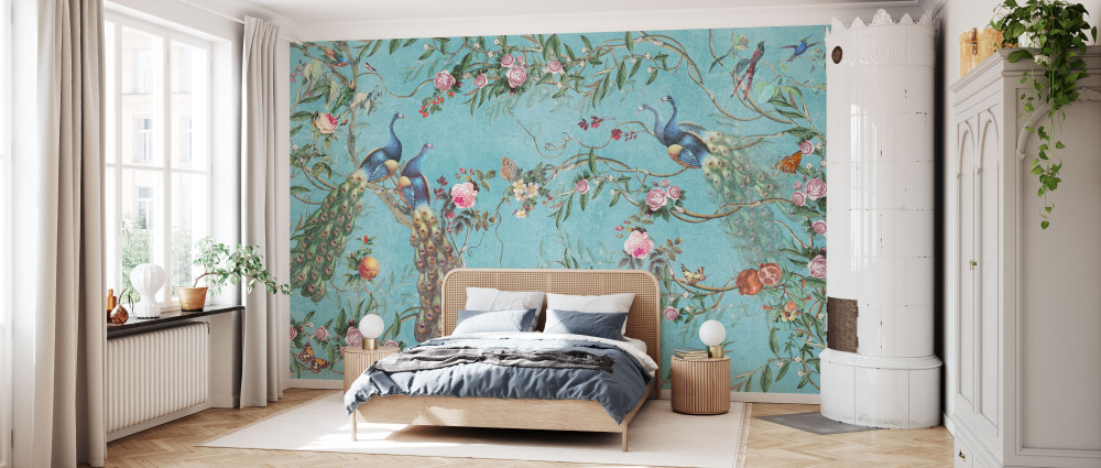 MURAL - PEACOCKS AND FLOWERS (PER SQM)