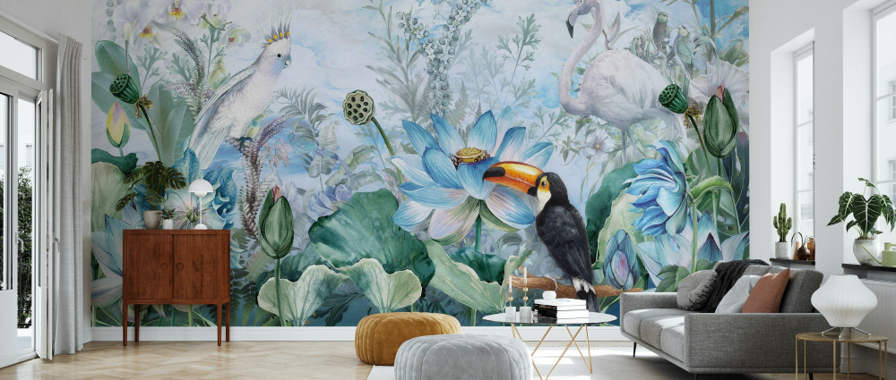 Mural - Birds In Blue Vegetation (Per Sqm)