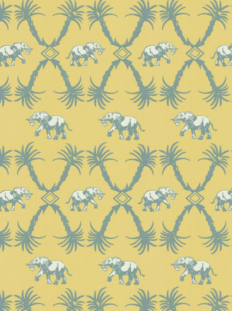 Elephant Palm - Ochre / Blue