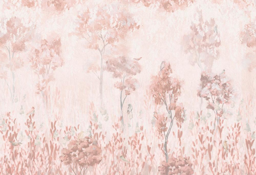 Mural - Morning Vegetation Pale Pink (Per Sqm)
