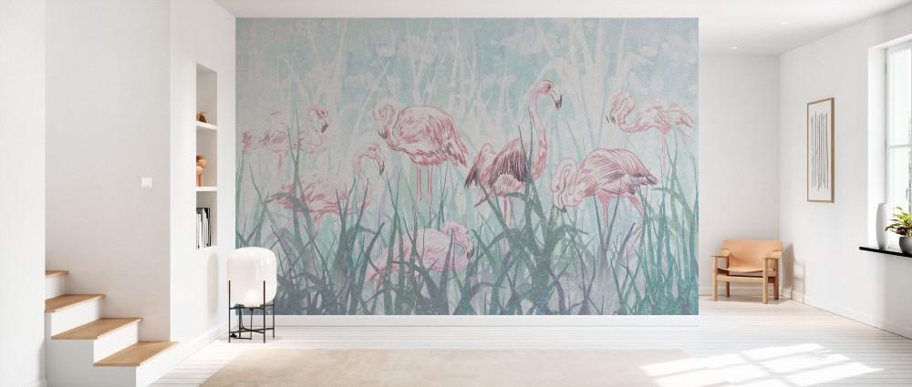 Mural - Flamingos In The Grass (Per Sqm)