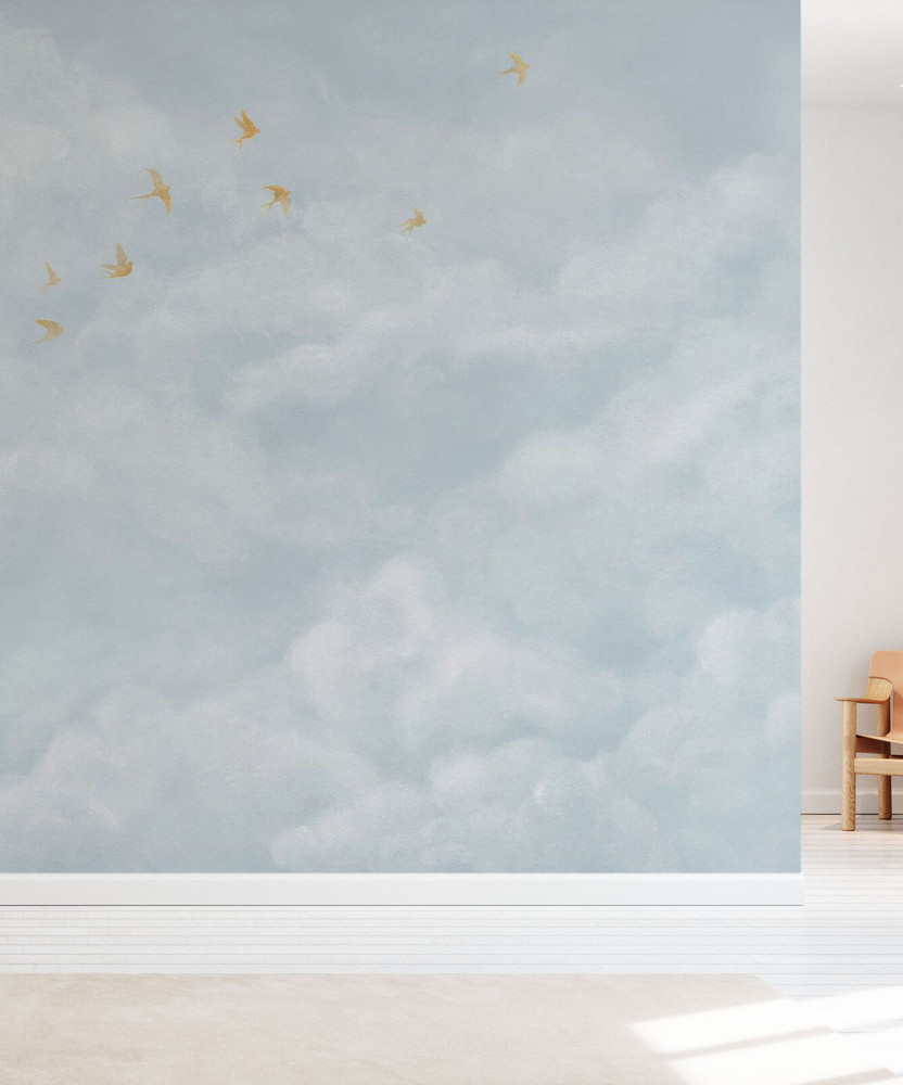Mural - Tender Clouds Soft Blue (Per Sqm)