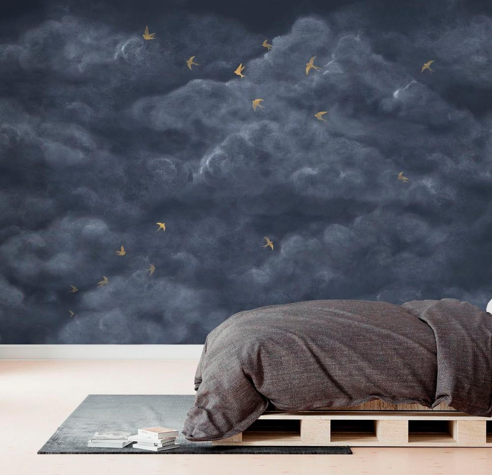 Mural - Tender Clouds Dark Blue (Per Sqm)