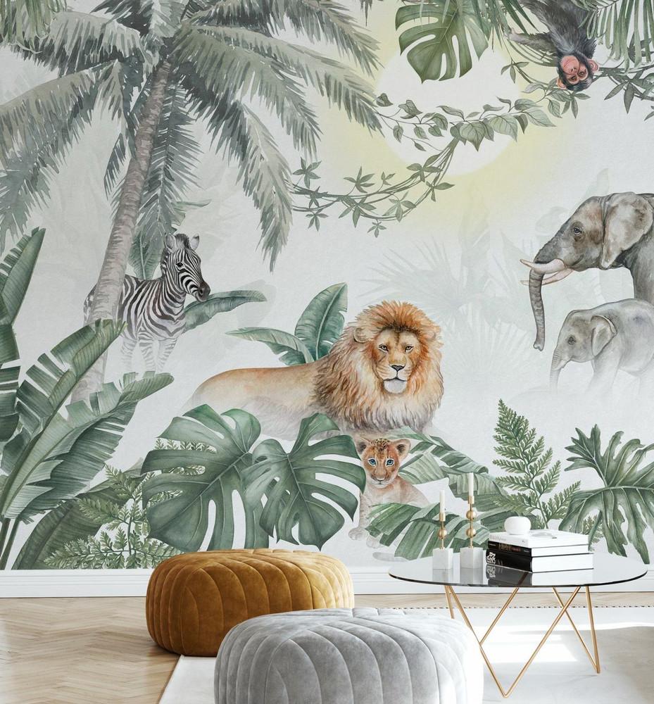 Mural - Jungle Animals Olive (Per Sqm)