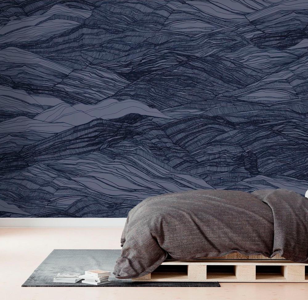 Mural - Duna Large Deep Blue (Per Sqm)
