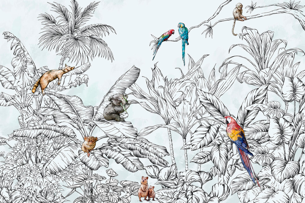 Mural - Hello Jungle Animals (Per Sqm)