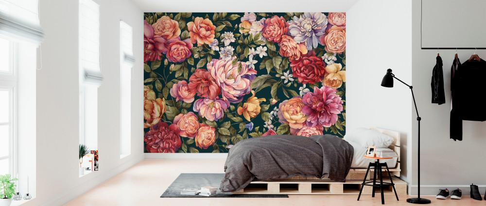 Mural - Floralia Dark Blue (Per Sqm)