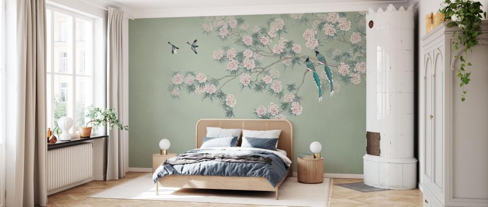 Mural - Bird Branch Green (Per Sqm)