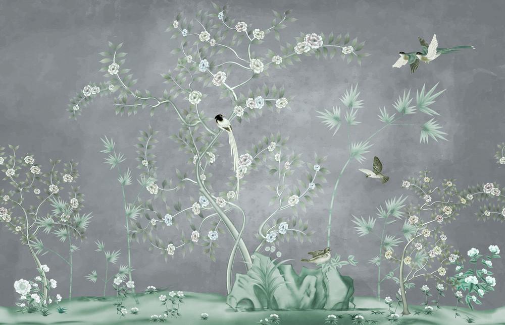 Mural - Promised Bird Land Grey (Per Sqm)