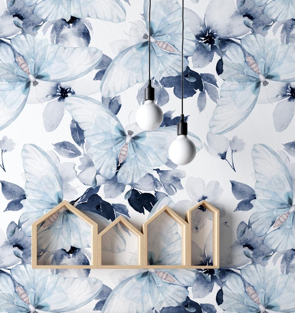 Mural - Watercolour Butterfly Blue(Per Sqm)