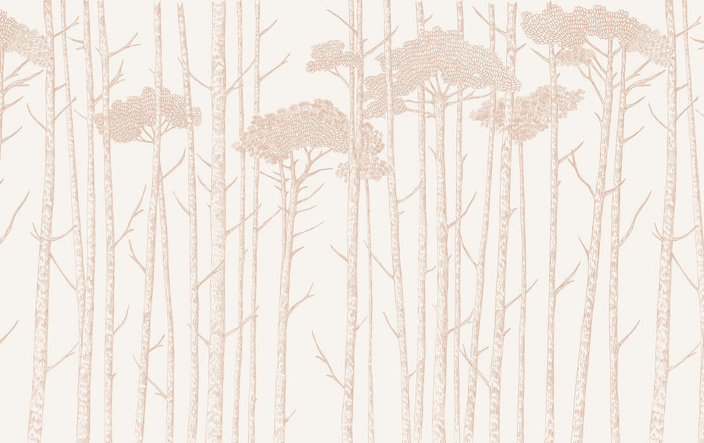 Mural - Tree Tops Blush Pink (Per Sqm)