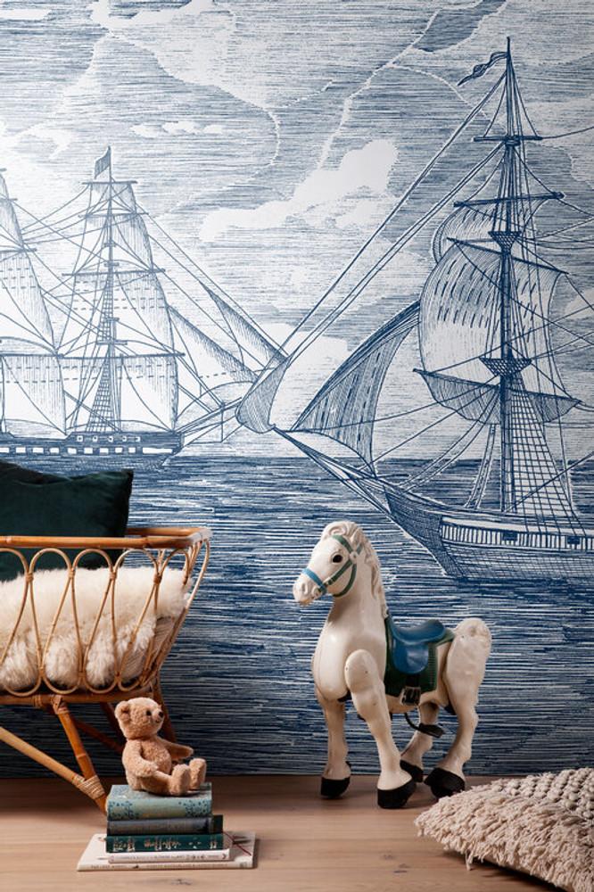 Mural - Sail Away Cobalt Stars (Per Sqm)