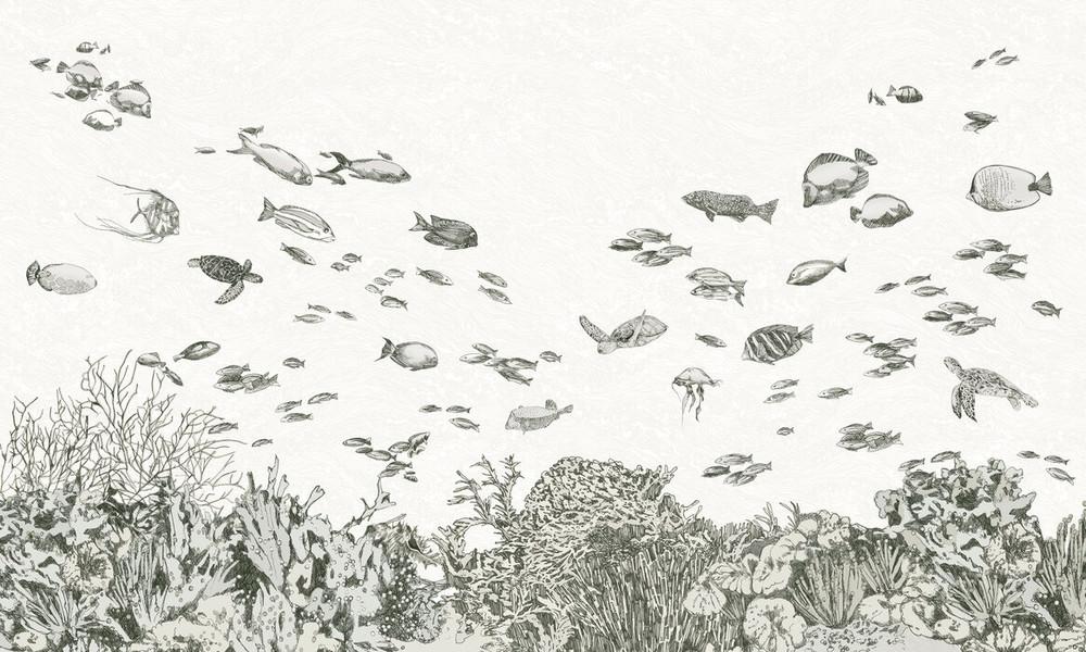 Mural - Under The Sea Black (Per Sqm)