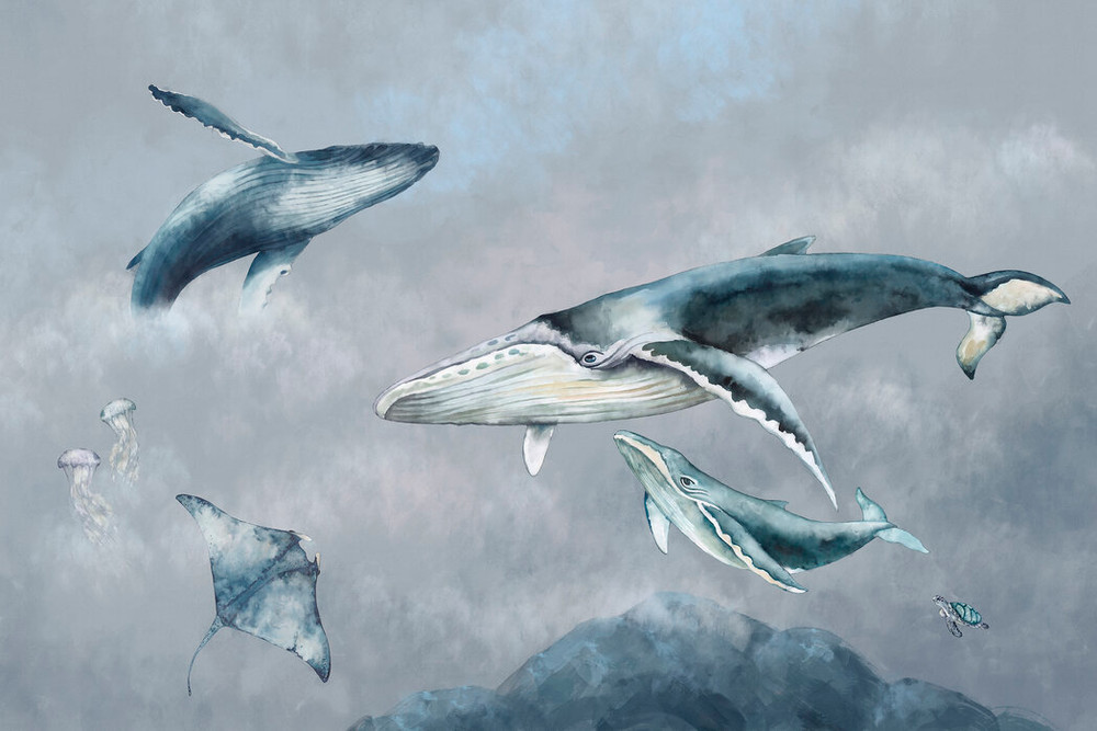 Mural - Watercolour Whale Friends (Per Sqm)