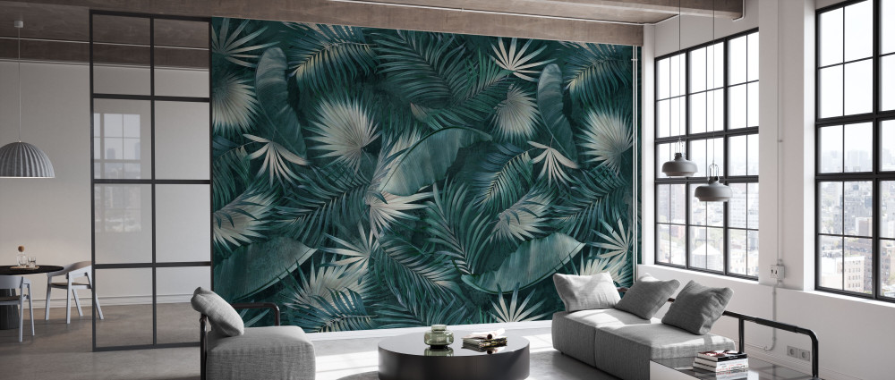 Mural - Tropical Leaves Green (Per Sqm)