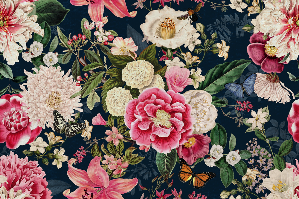 Mural - Fairy Garden Navy (Per Sqm)