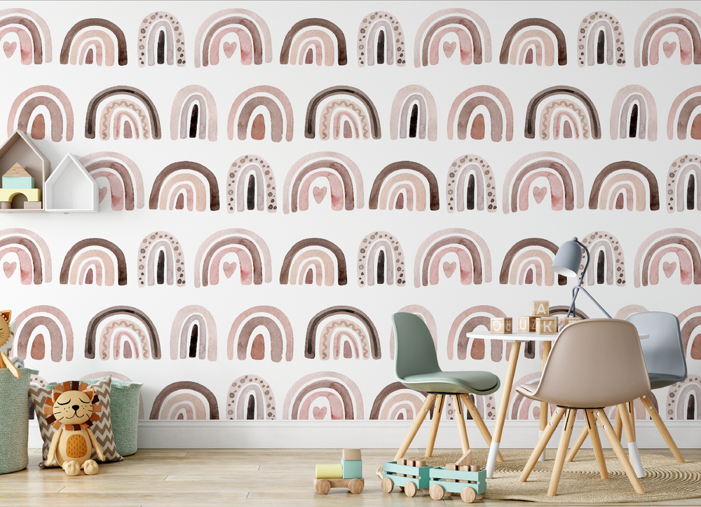 Mural - Rainbows Blush / Sepia (Per Sqm)