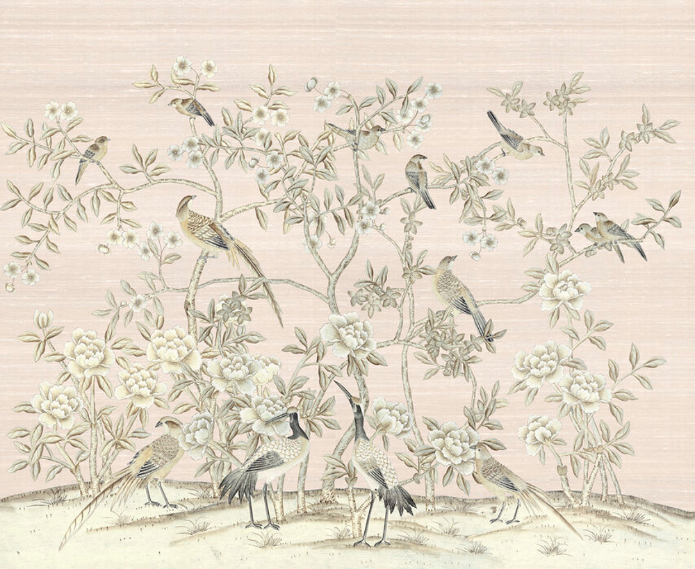 MURAL - BIRD PARTY PINK CHAMPAGNE (PER SQM)