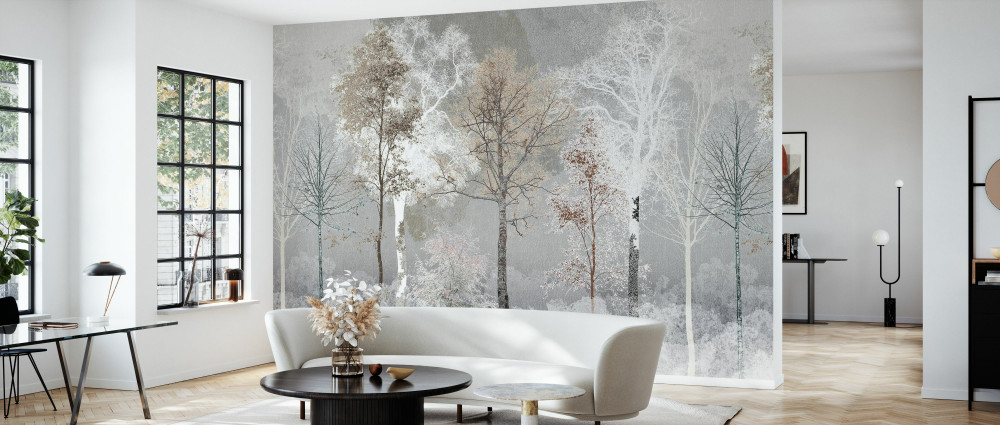 MURAL - HIDDEN BIRD BROWN GREY (PER SQM)